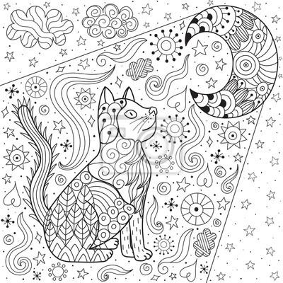 Kot Marzy Patrzac Na Ksiezyc Kolorowanki Doodle Czarno Biale