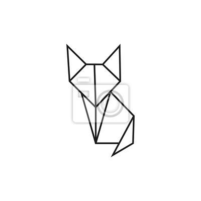 Kot Origami Geometryczny Kształt Linii Dla Sztuki Złożonego