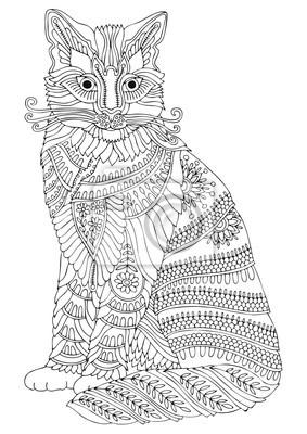 Kot Ręcznie Rysowane Zdjęcie Szkic Do Antystresowej Kolorowanki