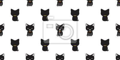Kot Wzór Czarny Kot Wektor Na Białym Tle Tapeta Tło Fototapeta
