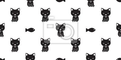 Kot Wzór Czarny Kot Wektor Ryba Na Białym Tle Tapeta Tło Białe