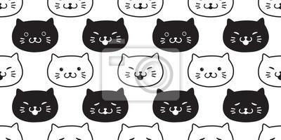 Kot Wzór Kotek Peruka Biały Czarny Kot Na Białym Tle Tapeta Tło