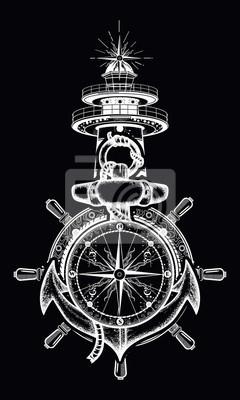Kotwica Kierownica Kompas Latarnia Morska Sztuka Tatuażu