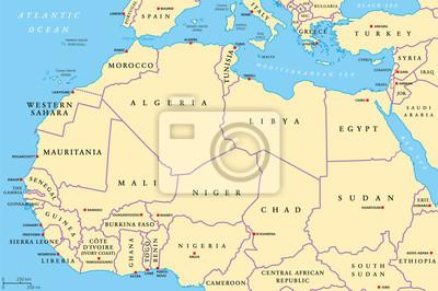 Kraje Afryki Polnocnej Mapy Polityczne Ze Stolicami I Granicami