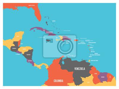 Kraje Ameryki Srodkowej I Karaibow Mapy Polityczne Z Etykietami
