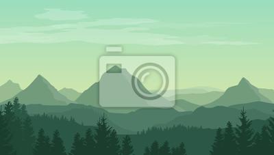 Fototapeta Krajobraz z zielonym sylwetk? Gór, wzgórzach i lesie i chmur na niebie - ilustracji wektorowych