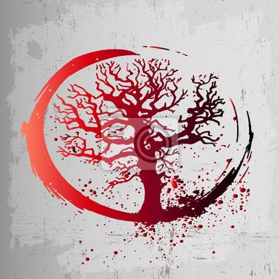Fototapeta Kreatywnym Pomysłem Na Tatuaż Jest Drzewo życia Czerwony Gradient