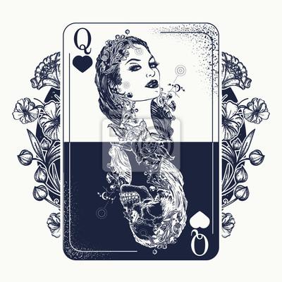 Fototapeta Królowa Kart Do Gry I Secesja Kwiaty Tatuaż I T Shirt Projekt