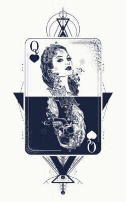 Fototapeta Królowa Kartce świętej Geometrii Tatuaż I T Shirt Projekt Karty