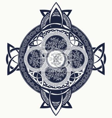 Krzyż Celtycki Tatuaż Smoki I Celtic Drzewo życia Fototapeta