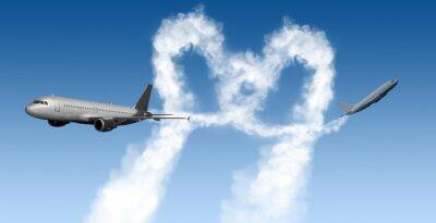 Fototapeta kształt serca tory z samolotów na niebiesko