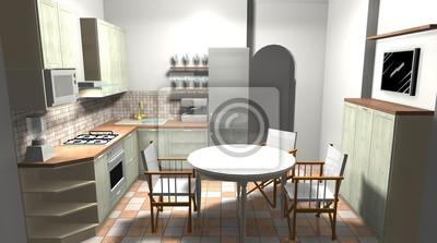 Fototapeta Kuchnia W Stylu Włoskim Renderowania 3d Wnętrze Wnętrza