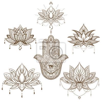 Fototapeta Kwiat Lotosu I Zestaw Hamsa Wektor Boho Joga India Arabski