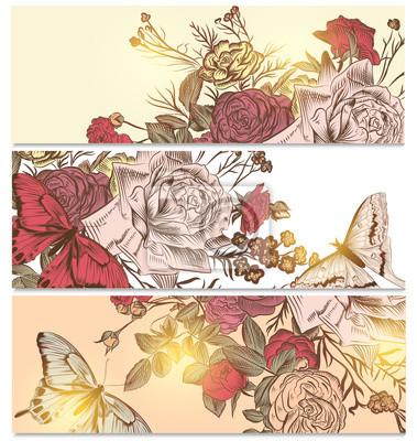 Fototapeta Kwiatowe tła zestaw z róż i motyli