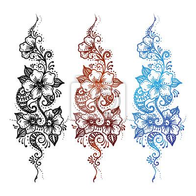 Kwiatowy Ornament Zestaw Mehndi Henna Tatuaż Czarny Brązowy