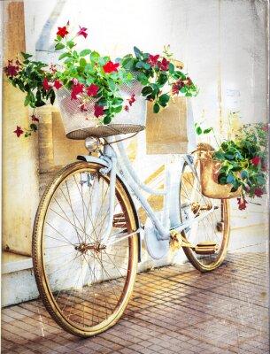 Fototapeta kwiatowy rowerów - archiwalne karty