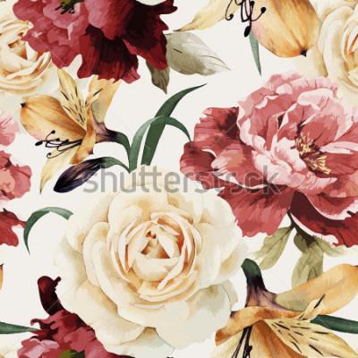 Fototapeta Kwiatowy wzór z róż, akwarela. Ilustracji wektorowych.