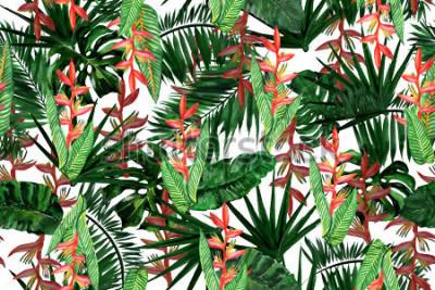 Fototapeta Kwiecisty bezszwowy wzór odizolowywający na bielu. Akwarela malarstwo tropikalny tło z egzotycznych roślin i liści.