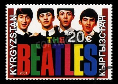 Fototapeta KYRGYZSTAN - CIRCA 2001: A Postage stamp from Kyrgyzstan portraying an image of The Beatles, circa 2001.