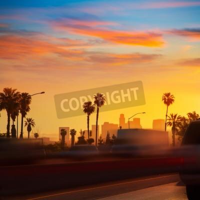 Fototapeta LA Los Angeles panoramę słońca z ruchu Kalifornia z autostrady