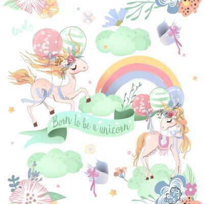 Fototapeta Ładny jednorożce wzór. Wzór dla dzieci z jednorożce, kwiaty, balony, chmury i tęcza