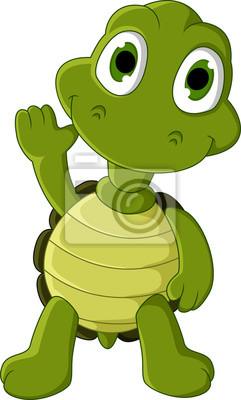 Fototapeta ładny rysunek żółw zielony