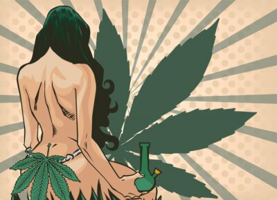 Fototapeta Lady with cannabis leaf. The marijuana leafs on the background. Naked woman, vector image