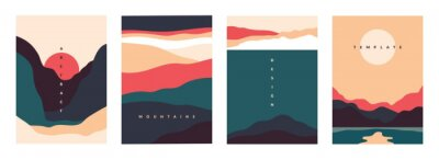 Fototapeta Landscape minimal poster. Abstract geometric banners with mountains lakes and waves. Vector illustration postcard travel and adventure flyers with curve nature shapes
