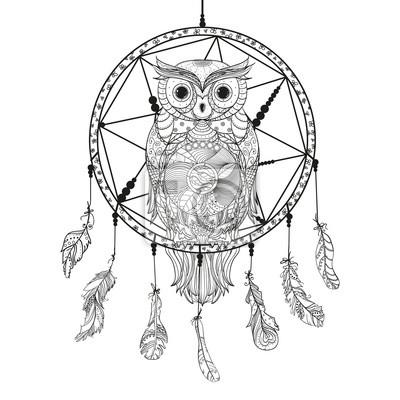 Fototapeta łapacz Snów Sowa Tatuaż Mistyczny Symbol Abstrakcyjne Pióra