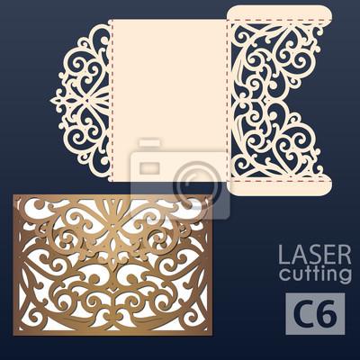 Fototapeta Laser Cut Wedding Invitation Card Template Vector Wedding Invitation