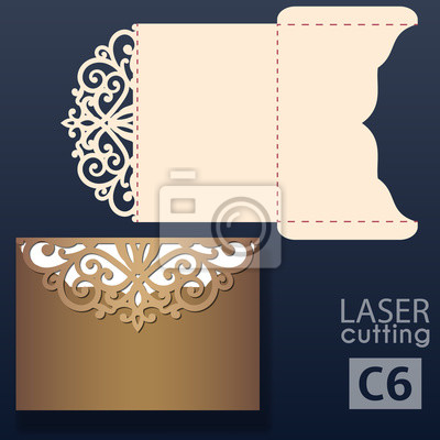 Fototapeta Laser Cut Wedding Invitation Card Template Vector Wedding Invitation