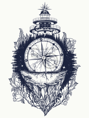 Latarnia Morska I Kompas Góry Tatuaż I Projekt Koszulki Górski