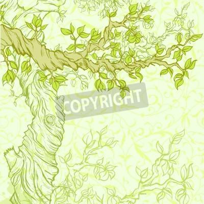 Fototapeta Latem lub wiosną grunge z drzewa