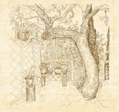 Fototapeta Latem słoneczny taras w stylu doodle sztuki pióra. Ręcznie narysowanego szkic wektor z płócienną teksturą.