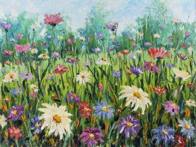 Fototapeta Lato dzikich kwiatów, obraz olejny
