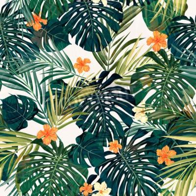 Fototapeta Lato kolorowe Hawaiian szwu z tropikalnych roślin i kwiatów hibiskusa, ilustracji wektorowych