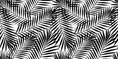 Fototapeta Lato tropikalny drzewko palmowe opuszcza bezszwowego wzór. Wektorowy grunge projekt dla kart, sieci, tło i naturalnego produktu.