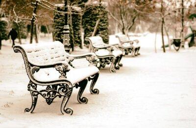 Fototapeta Ławka w parku zimą śniegiem