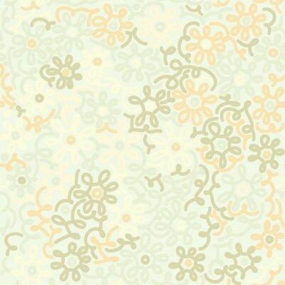 Fototapeta Lekkie kwiatów rumianku retro szwu. Szablon