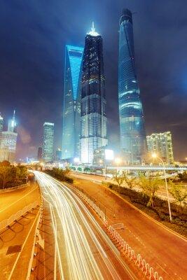 Fototapeta lekkie ślady na tle nowoczesny budynek w Szanghaju c