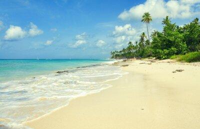 Fototapeta Letnia plaża raj. Beach Island z niebieskim wody morskiej. Morze piany na plaży. Pusta plaża morze.