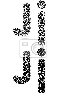 Litera J Fototapeta Fototapety Alfabet Tatuaż Kaligrafia