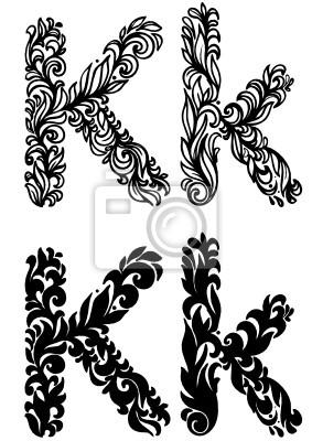 Litera K Fototapeta Fototapety Alfabet Tatuaż Kaligrafia