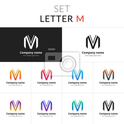 Litera M Logo Ustaw Ikonę M Z Kolorowym Gradientem Vector Znak