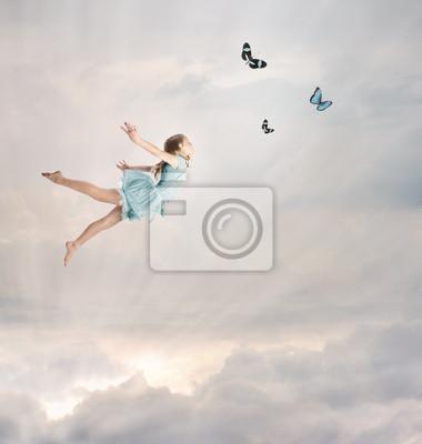Fototapeta Little Girl Latanie w Zmierzchu