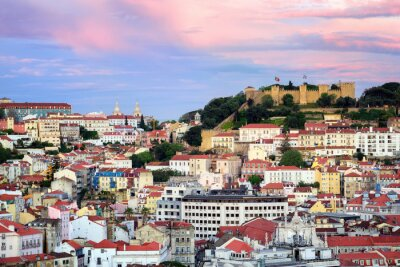Fototapeta Lizbona, Portugalia, widok na Alfama kwartał i św Jorge castl
