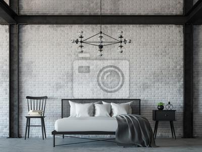 Fototapeta Loft Stylu Sypialni Renderowania 3d Imagethere Są Białe Cegły