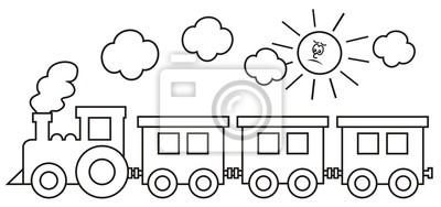 Lokomotywa Parowa Z Wagonami W Tle Dymu I Slonca Ksiazka