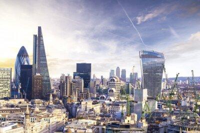 Fototapeta London zachód słońca, widok na nowoczesnej dzielnicy biznesowej