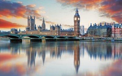 Fototapeta Londyn - Big Ben i Houses of Parliament w Wielkiej Brytanii